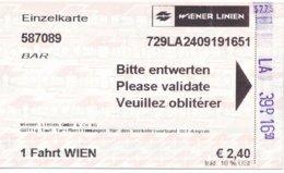 Österreich Wiener Linien Einzelkarte 2019 U-Bahn - Subway