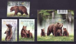 3333 Slowenien Slovenia 2019 ** MNH Seria + Block Animals Fauna Brown Bear  Braunbär Bar - Bären