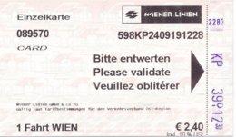 Österreich Wiener Linien Einzelkarte 2019 U-Bahn - U-Bahn