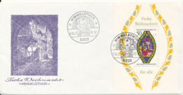 Germany Himmelsthür Christmas Minisheet 1-12-1976 On Cover With Cachet - Christmas