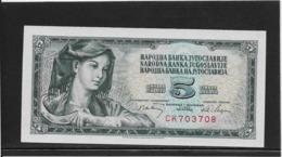 Yougoslavie - 5 Dinar - Pick N°81b - NEUF - Jugoslavia
