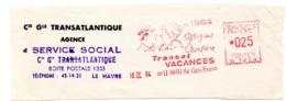 MARINE = 76 LE HAVRE 1964 = EMA Illustrée Par Jacques Faizant = ' OFFREZ UNE CROISIERE / TRANSAT VACANCES' - Marcophilie (Lettres)