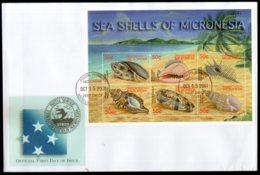 Micronesia 2001 Sea Shell Marine Life Sc 457 Sheetlet FDC # 19117 - Marine Life
