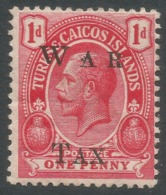 Turks & Caicos Islands. 1919 War Tax. 1d MH. SG 152 - Turks And Caicos