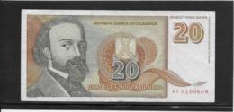 Yougoslavie - 20 Dinar - Pick N°150 - TTB - Yugoslavia