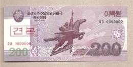 Corea Del Nord - Banconota Non Circolata FdS Da 200 Won SPECIMEN  P-62s - 2008 - Corea Del Nord