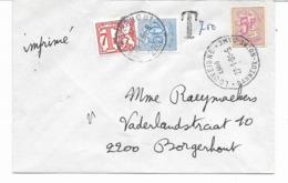 Rare  Timbre Entier Postal Découpé Sur Lettre Imprimé LOUVEIGNE  BANNEUX NOTRE DAME  Taxée Par BORGERHOUT à 7F50  Voir S - Stamped Stationery