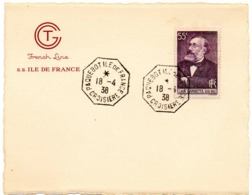 MARINE = [76 LE HAVRE] 1938 = CACHET HEXAGONAL ' PAQUEBOT ILE FRANCE CROISIERE ' + N° Yvt  378 - Postmark Collection (Covers)
