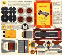 BENZ 1908  COLLECTION SCHELL BERRE   BOLIDES D AUTREFOIS   MAQUETTE EN CARTON  EDITION ANNEE 50 - Kartonnen Modellen / Lasercut