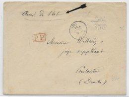 1871 - GUERRE 1870 - LETTRE De L'ARMEE De L'EST à SALINS (JURA) => PONTARLIER (DOUBS) - Guerre De 1870