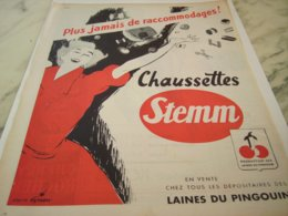 ANCIENNE PUBLICITE CHAUSSETTE STEMM LAINES DU PINGOUIN 1953 - Unclassified