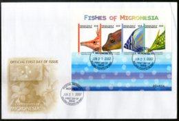 Micronesia 2007 Island Fishes Marine Life Animals Sc 742 Sheetlet FDC # 19118 - Marine Life