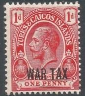 Turks & Caicos Islands. 1917 War Tax. 1d MH. SG 140 - Turks And Caicos