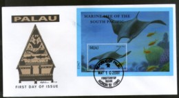 Palau 2000 Mantra Ray Fishes Marine Life Animals Sc 567 M/s FDC # 16613 - Marine Life
