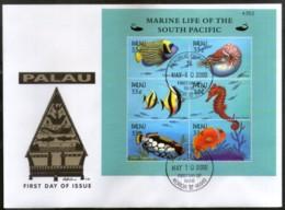 Palau 2000 Fishes Sea Horse Marine Life Animals Sc 565 Sheetlet FDC # 9403 - Marine Life