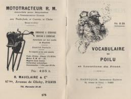 1917. Vocabulaire Du Poilu Et Locutions Du Front (2 Scannes) - 1914-18
