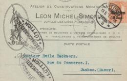 Jupille-lez-Liège - EP Commercial Léon Michel-Simonis - Censure Ovale Lüttich Vers Jambes - Guerre 14-18