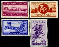 1944 Motorcycle,Post Coach,Postman,Truck,Horses,Postillon,Romania,817,CV=$22,MNH - Nuevos