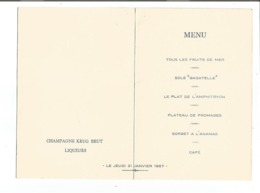 VP.0510/ Menu Restaurant Lasserre Paris - Illustration Jan Mara - Fernandel Robert Lamoureux Mauricet - Menükarten