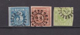 Bayern - 1850/58 - Michel Nr. 2+4+5 - Gest. - 35 Euro - Bayern
