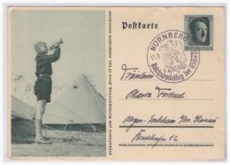 Dt.- Reich (000097) Ganzsache P264/ 07, Junghornist Vor Feldlager, Gelaufen Mit SST Nürnberg Reichsparteitag Der NSDAP - Allemagne