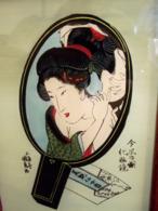 Boîte Acajou Et Peinture Sur Verre Gheïsha - Asian Art