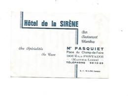 VP.0533/ Hôtel De La Sirène - Pasquiet - Doué-la-Fontaine - Maine Et Loire - Visitenkarten