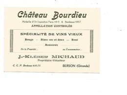VP.0534/ Château Bourdieu Berson Gironde J.-Kleber Michaud Propriétaire Viticulteur - Cartoncini Da Visita