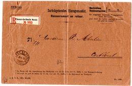 Schweiz 1902, Postamtl. Umschlag Zurückgehendes Einzugsmandat V. Chaux-De-Fonds - Schweiz