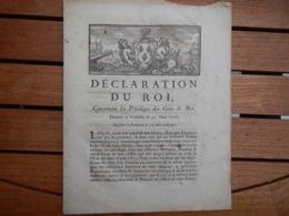 DÉCLARATION DU ROY CONCERNANT LES PRIVILÈGES DES GENS DE MER 1718 ORIGINAL - Decrees & Laws