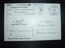 CP CHANGEMENT D'ADRESSE OBL.MEC.6-7 1987 57 METZ CENTRE DE TRI MOSELLE  + ASPTT METZ - Marcofilie (Brieven)