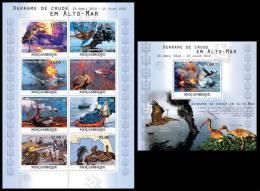 MOZAMBIQUE 2010 - Crude Oil Spills At Sea - Mi 4105-12 + B379, YT 3388-95 + BF324 - Umweltverschmutzung