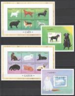 M705 ANGOLA FAUNA PETS DOGS CAES CATS 2KB+2BL MNH - Honden