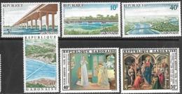 Gabon  1975-6  Sc#359-62 Bridges Set & #C170-1 Christmas  MNH  2016 Scott Value $5.90 - Gabón (1960-...)