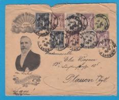 "ENTIER POSTAL,ENVELOPPE REPIQUAGE ""EXPOSITION UNIVERSELLE 1900"" AVEC AFFRANCHISSEMENT COMPLÉMENTAIRE. - Postal Stamped Stationery"