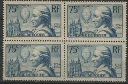 """N° 313, Bloc De 4 Du 75ct Bleu Vert """"François Pilêtre De Rozier"""". Voir Description - Unused Stamps"""