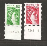 France, 2101b, 2102b, Gomme Tropicale, Neuf **, TTB, Sabine De Gandon - 1977-81 Sabine (Gandon)