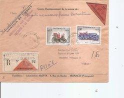 Monaco -Voitures ( Lettre Recommandée Contre Remboursement De 1961 De Monaco-Condamine  Vers La Belgique à Voir) - Monaco