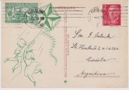 AKEO Esperanto Card From Spain With Label 26th Catholic Conference In Barcelona 1956 - Hispana Karto El Barcelono - Esperanto