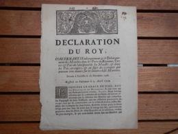 DECLARATION DU ROY CONCERNANT L'EMBARQUEMENT DES MATELOTS DANS LES PORTS DU ROYAUME - Decrees & Laws
