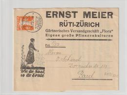 """Schweiz: Illustriertes  Privat-Streifband """"Wie Die Saat, So Die Ernte"""" - Schweiz"""