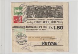 """Schweiz: Illustriertes  Privat-Streifband """"Der Schweizer Pflanzenfreund"""", 1915 - Schweiz"""