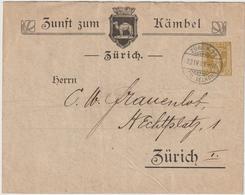 """Schweiz: Privat-Ganzsachenumschlag """"Zunft Zum Kämbel"""", 1909 - Schweiz"""