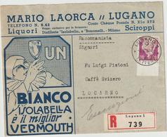 """Schweiz: Schöner Reklameumschlag """"Bianco Vermouth"""", 1937 - Schweiz"""