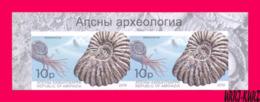 ABKHAZIA 2019 Fauna Marine Shell Fossils Extinct Cephalopods Ammonites Archaeology Imperforated Pair MNH - Marine Life