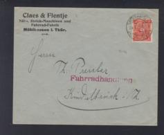 Dt. Reich Brief 1922 Lochung Claes & Flentje - Briefe U. Dokumente