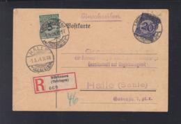 Dt. Reich R-PK 1924 Mühlhausen Nach Halle - Germany
