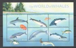 O666 GRENADA FISH & MARINE LIFE THE WORLD OF WHALES 1KB MNH - Whales