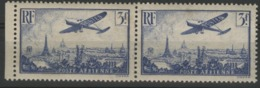 """Poste Aérienne N° 12 Paire Horizontale Du 3F Outremer, """"Avion Survolant Paris"""". Voir Description. - Airmail"""