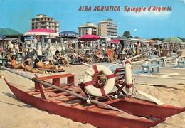Cartolina Alba Adriatica Spiaggia D'Argento Grandi Alberghi Animata Pattino - Teramo